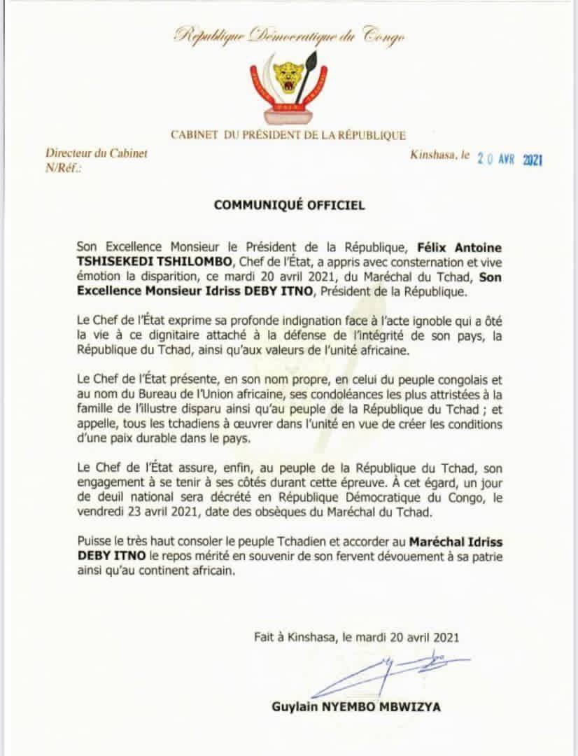 Décès du président Idriss Deby : le Chef de l'État Félix Tshisekedi décrété un jour de deuil national (CongoForum)