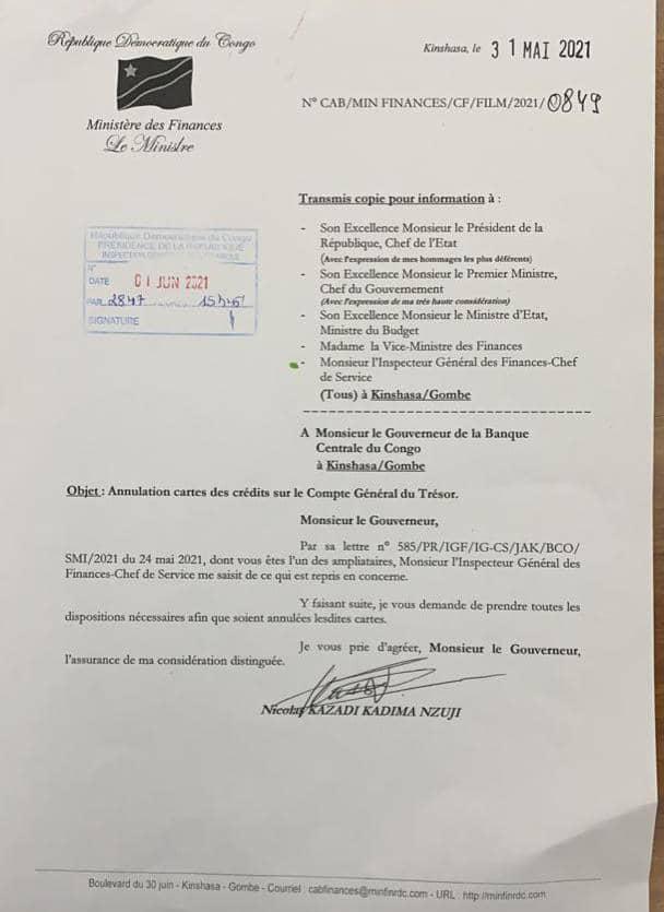 Le Ministre de Finances fait annuler des cartes Visas prépayées de collaborateurs de Joseph Kabila (Congoforum)